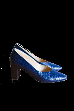 Italian blue chunky heel shoes