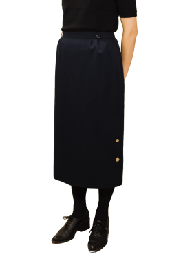 Navy blue wool blend maxi skirt
