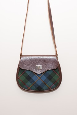 leather and tartan checked fabric saddle bag