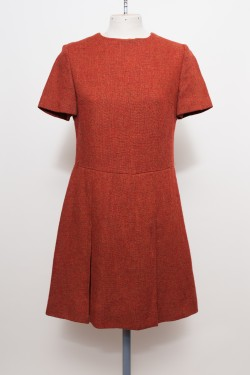 Italian Pure Wool Vintage Dress Rust Orange