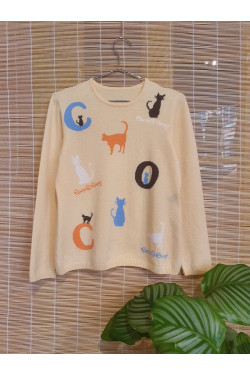 Pure cashmere sweater with cats print