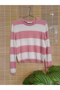 Striped pure cashmere blouse